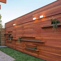 Timber Panel Fences With Open Shelves And Lighting , Outdoor Timber Fences In Landscaping And Outdoor Building Category