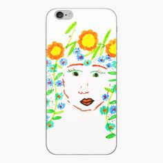 Girl with flowery hair by Elisavet by azimaplace   Redbubble Top Artists, Phone Cases, Spring, Hair, Painting, Painting Art, Paintings, Painted Canvas, Strengthen Hair