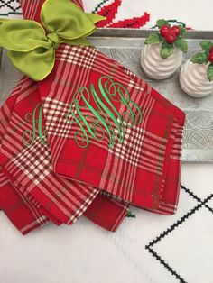 I love shopping estate sales, thrift shops and tag sales -- I get a thrill out of saving money. A few years back, on a cold fall morni. Monogrammed Napkins, Different Fonts, Holiday Tables, Cloth Napkins, Tartan Plaid, Monograms, Christmas Holidays, Mitered Corners, Fishtail