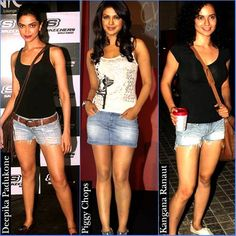 Who looks the best in these crop shorts? #deepika #bollywood #priyanka #chopra #kangana