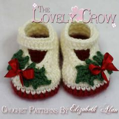 christmas+crochet+patterns+free+online | Crocheting: Christmas Baby Slippers 'Baby Holly Shoe