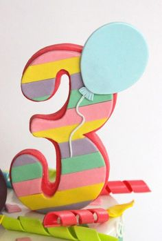 Striped number cake topper Number Cake Toppers, Fondant Cupcake Toppers, Number Cakes, Fondant Numbers, Fondant Letters, Bear Birthday, First Birthday Cakes, Rainbow Layer Cakes, Cake Lettering
