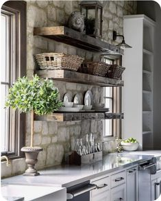 25 Inspiring Stone Walls in the Kitchen Regal Design, Küchen Design, Home Design, Design Ideas, Kitchen Shelf Design, Kitchen Shelf Decor, Kitchen Racks, Industrial Kitchen Design, Country Kitchen Shelves