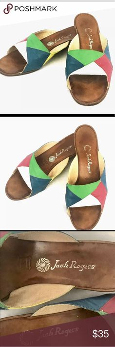 Jack Rogers slide sandals - VINTAGE- size 7 Super Rare & beautiful Vintage Jack Rogers Multicolor Patchwork Sandals. Colors include white, teal, green, yellow and pink. Please see pictures, they are in good condition but they have been loved a lot before, super cute and unique!! Please ask any questions before purchasing. Always open to offers 🛍🛍 Thank you for visiting my closet. Jack Rogers Shoes Slippers