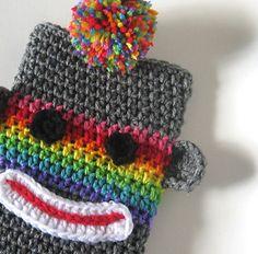 Rainbow Sock Monkey eReader Case Sock Sleeve Cover for Nook Kindle