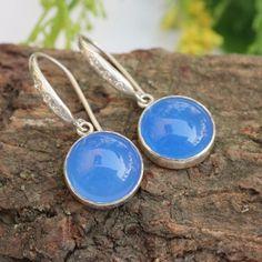 Blue Chalcedony earrings silver bridal