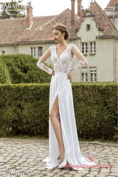 Online Shopping New Beach Wedding Dresses 2015 Lace Long Sleeves Boho Wedding Dresses White Chiffon Bridal Gowns Unique Leg Split side Country Bride Dresses 127.23 | m.dhgate.com