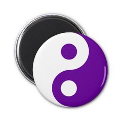 Purple Yin Yang Symbol Refrigerator Magnet