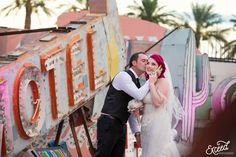 The Neon Museum Elopement Wedding (Amy & Adam) - Las Vegas Event and Wedding Photographer, Neon Museum Wedding Photos, Vegas wedding, Las Vegas Wedding Photographer Elopement Wedding, Elope Wedding, Wedding Dresses, Las Vegas Wedding Photographers, Las Vegas Weddings, Neon Museum, Museum Wedding, Las Vegas Strip, Amy