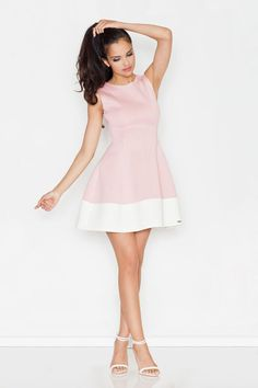 Pink Sleeveless Retro Style Mini Dress LAVELIQ