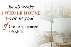 40 Weeks - 1 Whole House: Week 38 Goal - Create a Summer Schedule | Organize 365