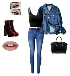 """""""Double denim day"""" by jersmine ❤ liked on Polyvore featuring Doublju, WithChic, Jimmy Choo and Givenchy"""