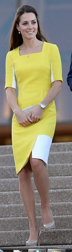 Kate Middleton: Dress – Roksanda Ilincic  Shoes and purse – LK Bennett  Earrings – Annoushka  Necklace – Mappin & Webb  Watch – Cartier