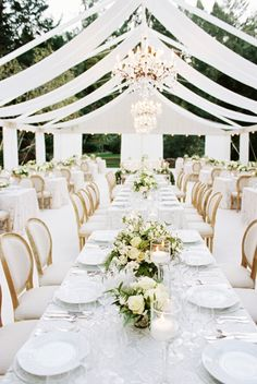 Almost all white wedding decor at this modern wedding at meadowood in Napa Valle. Almost all white wedding decor at this modern wedding at meadowood in Napa Valley from a savvy event and britt chudleigh. Wedding Tent Decorations, Wedding Themes, Wedding Centerpieces, Wedding Table, Wedding Colors, Wedding Styles, Gown Wedding, Wedding Cakes, Wedding Rings