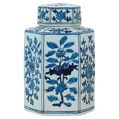 Brione Global Bazaar Blue Floral Hexagonal Base Jar - Small   Kathy Kuo Home