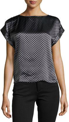 Armani Collezioni Short-Sleeve Polka Dot Blouse, Slate/Limestone  $545.00$272.50