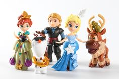 Di Dini Frozen ice Adventure Princess Aisha Anna cartoon Q version five assembly Decoration - Taobao