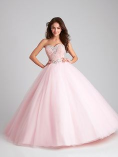 This strapless Quinceanera ballgown will be the highlight of your event with its strapless sweetheart beaded bodice and lace up back. Pretty Quinceanera Dresses, Pretty Prom Dresses, Sweet 16 Dresses, Dressy Dresses, 15 Dresses, Cute Dresses, Girls Dresses, Allure Bridal, One Step
