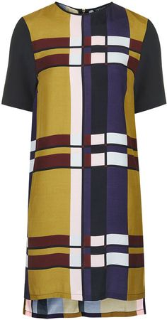 Woven tunic dress in colour-block print with contrast sleeves. fastens with zip to the back. style it with ankle boots Color Blocking, Colour Block, Topshop Shorts, Tee Dress, Tunic Dresses, Asymmetrical Design, Dress With Sneakers, All About Fashion, Fashion Outfits