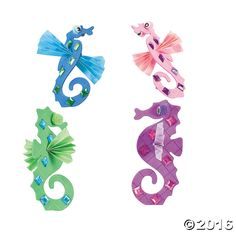 Invite this pretty seahorse to your under-the-sea craft party! Includes self-adhesive plastic jewels, foam and paper pieces. Makes 12. 2 1/4 x 5 1/2.  All ...