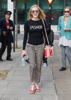 No first day jitters! Fearne Cotton, 34, looked overjoyed as she arrived to Radio 2 studio...
