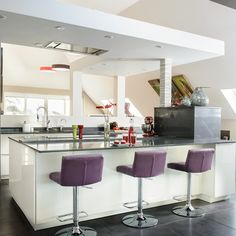 White modern kitchen with purple stools | kitchen decorating ideas | Beautiful Kitchens | Housetohome.co.uk