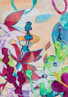 "Hannah Klaus Hunter, Botanical Dreams 18, ©2016, 6"" x 8,"" Acrylic and monoprint collage"