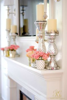 Tips to Warm up your Home after Christmas fresh pink flowers on a white mantle w. Tips to Warm up your Home after Christmas fresh pink flowers on a white mantle with mercury glass pillar candles are just the thing! Home Decor Accessories, Decorative Accessories, White Mantle, After Christmas, Christmas Christmas, Christmas Candles, Christmas Design, Spring Home Decor, Summer Mantle Decor