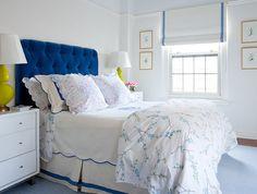 blue velvet headboard! Pretty Bedroom, White Bedroom, Feminine Bedroom, Clean Bedroom, Grey Tufted Headboard, Cushion Headboard, Contemporary Bedroom, Beautiful Bedrooms, Interior Design Inspiration