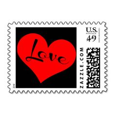 Red Love Heart on Black, Postage Stamp