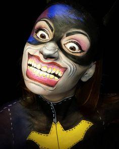 Batgirl and Joker! Hero and villain makeup! #geek #heroesvillainscontest #geektak @likecharity @camoeyes