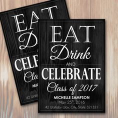 Instantly download and print your own Eat, Drink, Celebrate Graduation Announcement / Invitations with this beautiful Rustic Wood Barn design.