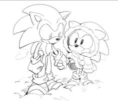 Modern Sonic and Classic Sonic walking together in the snow. Awwwwww, Classic Sonic looks so cute in his little coat!