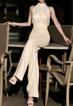 Vintage Turtleneck Faux Pearl Embellished Sleeveless Women's Jumpsuit beautiful classic look love it
