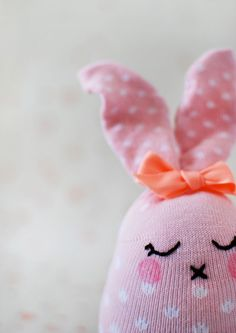 Adorable Tutorial: How to Make Easter Bunny Softies From Socks - Tuts+ Crafts & DIY Tutorial. #Easter #Craft #Sewing #Bunny #FreeTutorial