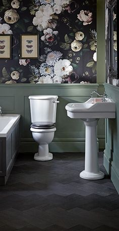 Heritage Bathroom Victoria Collection Single Basin works well with this floral wallpaper that adds on-trend French opulence Bathroom Renos, Small Bathroom, French Bathroom, Boho Bathroom, Bathroom Layout, Bathroom Ideas, Victorian Bathroom, Edwardian Bathroom Wallpaper, Victorian House
