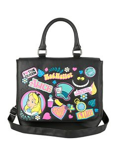 Disney Alice In Wonderland Sticker Icons Saddle Bag,