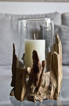 Windlicht mit Treibholz  einfache Vase mit Treibholz beklebt