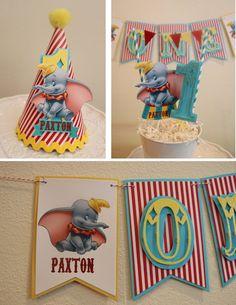 Dumbo Smash cake set high chair banner, ONE banner, year birthday banner, Circus banner, personalized. Circus First Birthday, Baby Boy 1st Birthday Party, Carnival Birthday Parties, Cake Birthday, Birthday Ideas, Dumbo Cake, Dumbo Baby Shower, Party Package, Pennant Flags