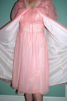 Vintage Gotham Pink Peignoir Set, 2pc. Negligee Set, Nightgown & Robe Set, Valentines Lingerie