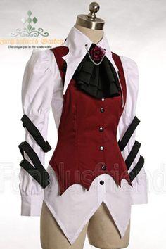 Chemise blanche, veste rouge et jabot noir gothique aristocrate
