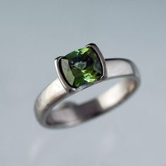 OOMPH.  Green+Tourmaline+Engagement+Ring+Solitaire+by+NodeformWeddings,+$395.00
