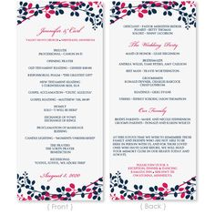 Wedding Program Template - DOWNLOAD INSTANTLY - Edit Yourself -Exquisite Garden  (Navy & Fuchsia) Tea Length - Microsoft Word Format on Etsy, $8.00