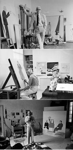 David Hockney working in his studio. Painter Artist, Artist Art, Artist At Work, Jasper Johns, Roy Lichtenstein, Robert Rauschenberg, Andy Warhol, Famous Artists, Great Artists