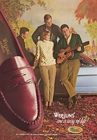 """history of  Bass """"Weejuns"""" loafer."""