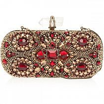 Evening Clutch Red & Gold Embroidered | Fashion Accessories | Rosamaria G Frangini