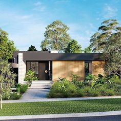 Modern Australian architecture, Creating a modern look is all about balancing materials. Here use Matrix cladding on the main black fascia House Cladding, Exterior Cladding, Facade House, Flat Roof House, House Front, Modern Barn House, Modern House Design, Modern Exterior, Exterior Design