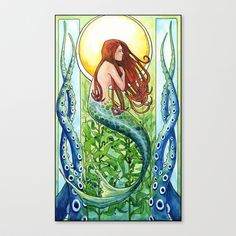 Kelp+Forest+Mermaid+Stretched+Canvas+by+Sam+Nagel+-+$85.00