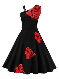 One Shoulder Butterfly Embroidered Flare Dress - RED M