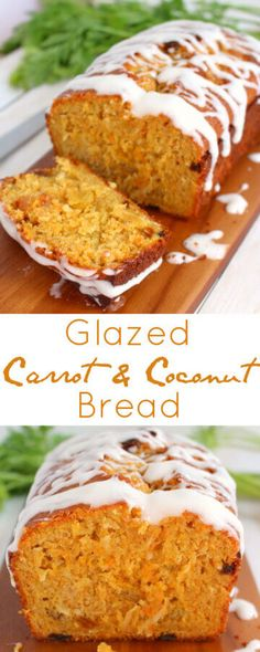 COCONUT CARROT BREAD / Loaded with coconut, shredded carrots and golden raisins and glazed with a cream cheese icing / Quick Bread recipe via @tastesoflizzyt